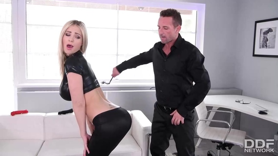 Kinky blond milf Nathaly Cherie is getting her hands tied up and fucked in her dirty ass. Nathaly Cherie
