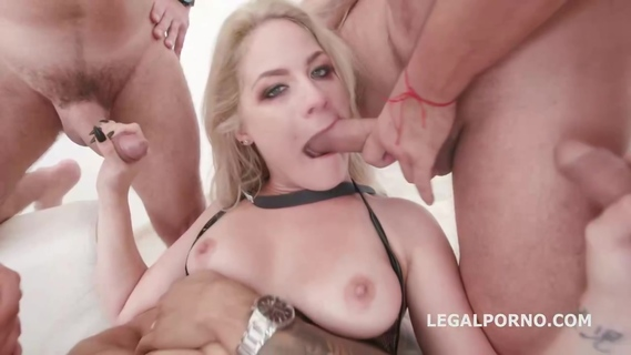 Insatiable blonde, Lisey Sweet is having steamy sex with four guys at the same time. Lisey Sweet
