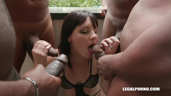 Amanda Hill is getting doublefucked from the back while sucking the third black cock like a pro. Amanda Hill