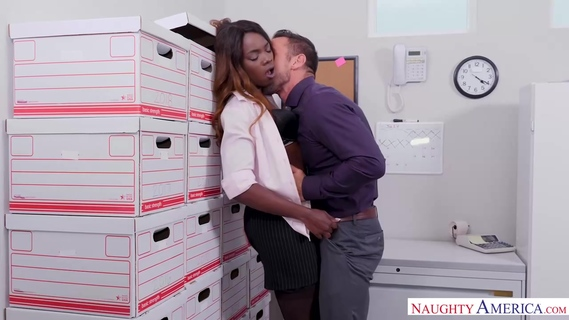 Small titted, black babe, Ana Foxxx is fucking her colleague from work during a lunch break. Ana Foxxx
