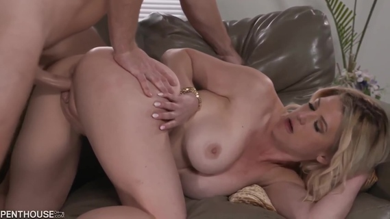 Blonde woman with big boobs, Kit Mercer got her daily dose of fuck, on the couch. Kit Mercer